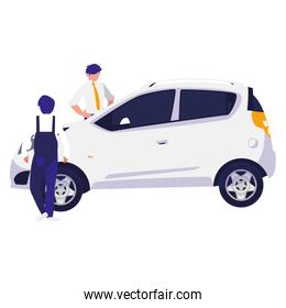 mechanic worker with car and client