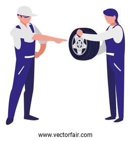 mechanics workers with tire car characters