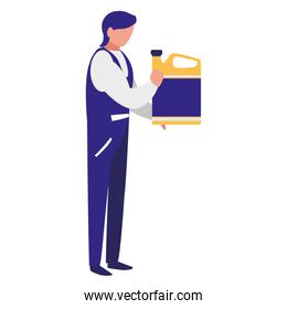 mechanic worker with oil gallon