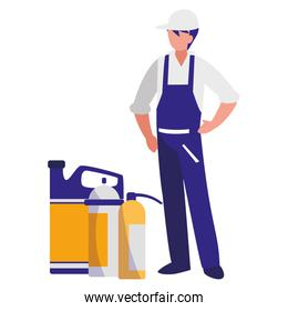 mechanic worker with extinguisher fire and oil gallon
