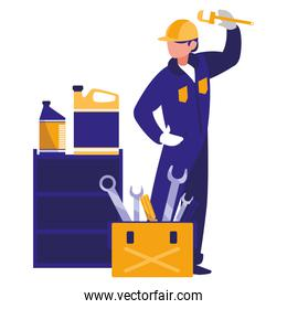 mechanic worker with toolbox