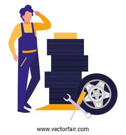 mechanic worker with tires car