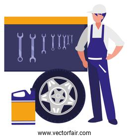 mechanic worker with tire car and oil gallon