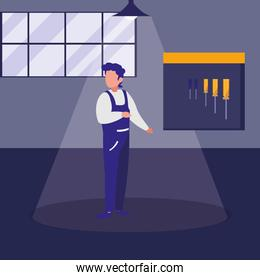 mechanic worker in the workshop place