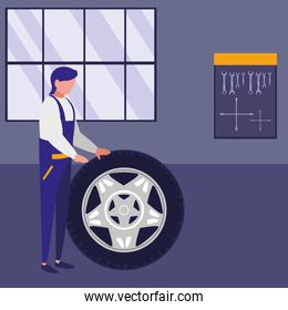 mechanic worker with tire car