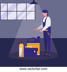 mechanic worker with toolbox and extinguisher