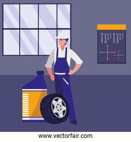 mechanic worker with oil gallon and tire track