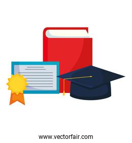 text book with graduation hat and diploma