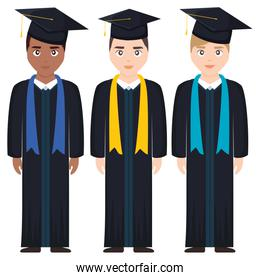 young students graduated diversity characters