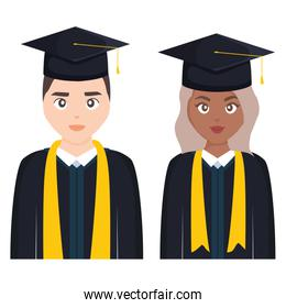 young students graduated diversity couple