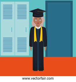 young student graduated girl black character