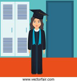 young student graduated girl character