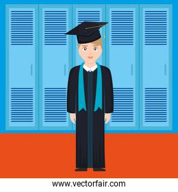 young student graduated character