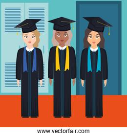 young students graduated girls diversity characters