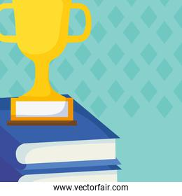 text books with trophy cup