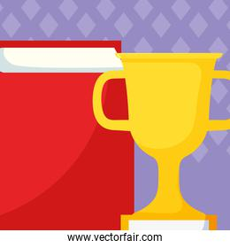 text book and trophy cup