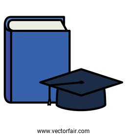 text book with graduation hat