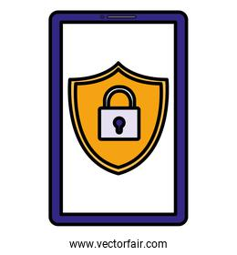 smartphone with shield and padlock