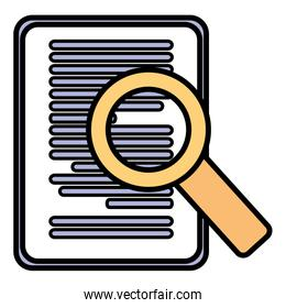 paper document with magnifying glass