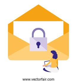 woman using envelope mail with padlock