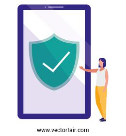 woman using smartphone with shield and ok symbol
