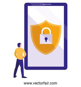 man using smartphone with shield and padlock