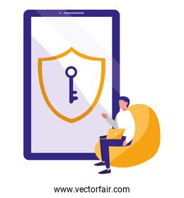 man using smartphone with shield and key