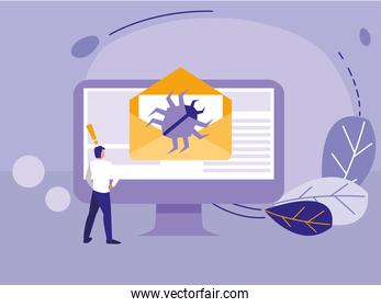 man using desktop with bug in email