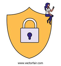 woman using smartphone in shield security with padlock