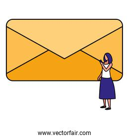 woman with envelope mail