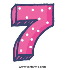 cute number seven celebration icon
