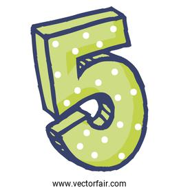 cute number five celebration icon