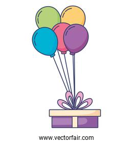 gift with balloons helium floating