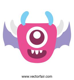 crazy monster with wings comic character