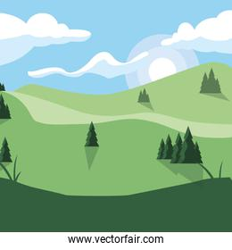 forest landscape scene icon