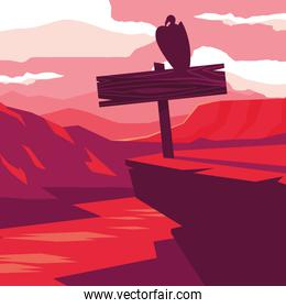 rustic wooden poster in the landscape with bird