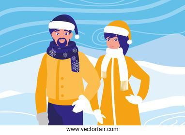 young couple in snowscape scene