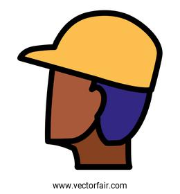 young black man head with cap character