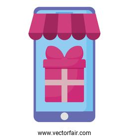 smartphone with parasol and gift