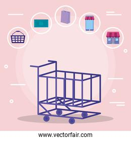 shopping cart with set commercial icons
