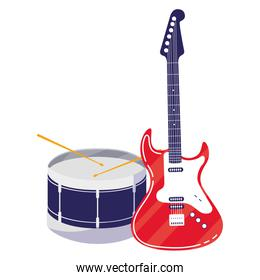 guitar electric and drum instruments