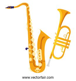 saxophone and trumpet instruments musical