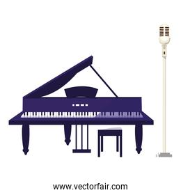 grand piano and microphone
