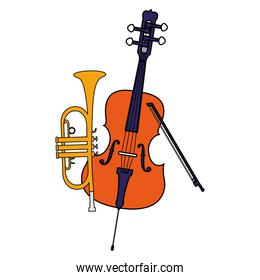 fiddle and trumpet instruments musical