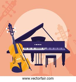 fiddle and grand piano instruments
