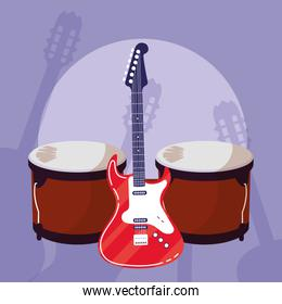 guitar electric and timbals instruments