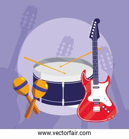 guitar electric and drum instruments musical