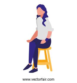 faceless woman sitting in chair