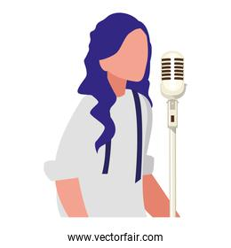 female singer with microphone character