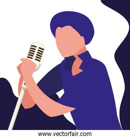 singer with microphone character